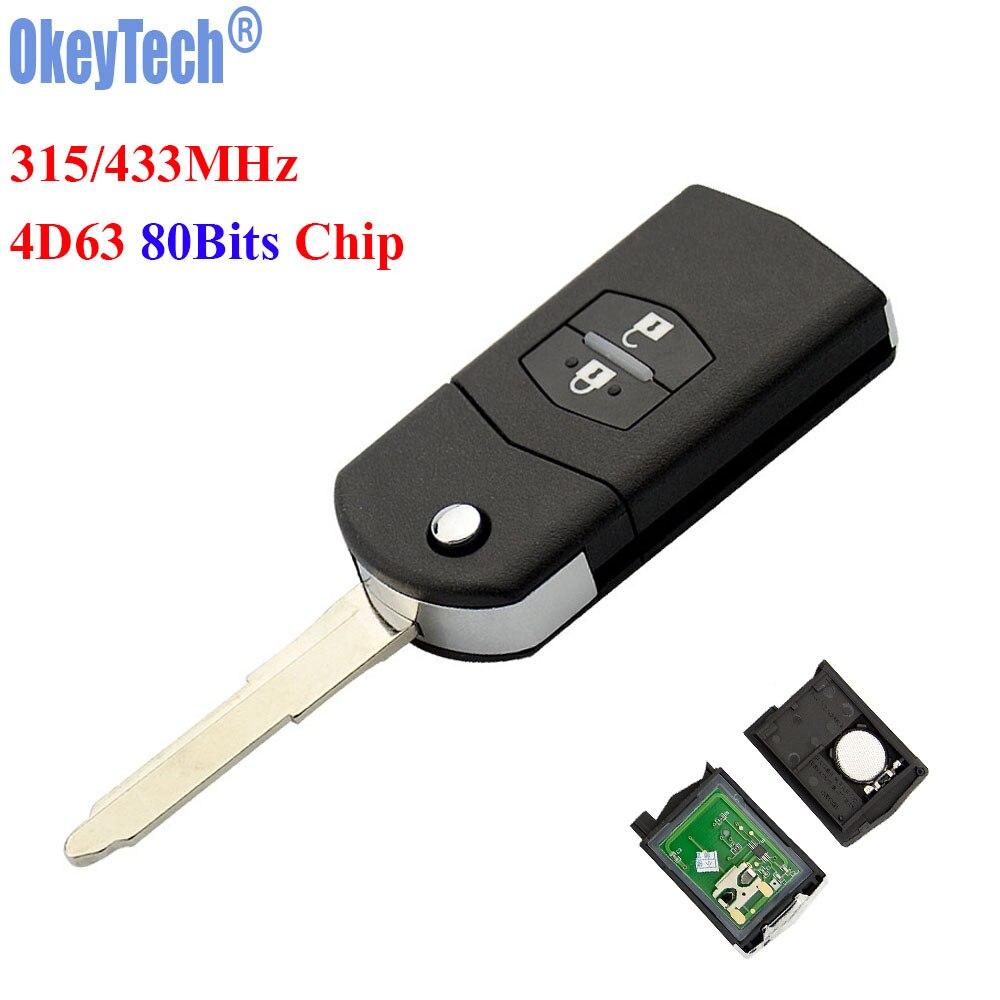 OkeyTech 2 Tasten 315 MHz 433 MHZ 4D63 80 Bits Chip Faltendes Flip Autofernschlüssel Schlüsselanhänger für Mazda 3 6 M3 M6 Kein Logo Kostenloser Versand