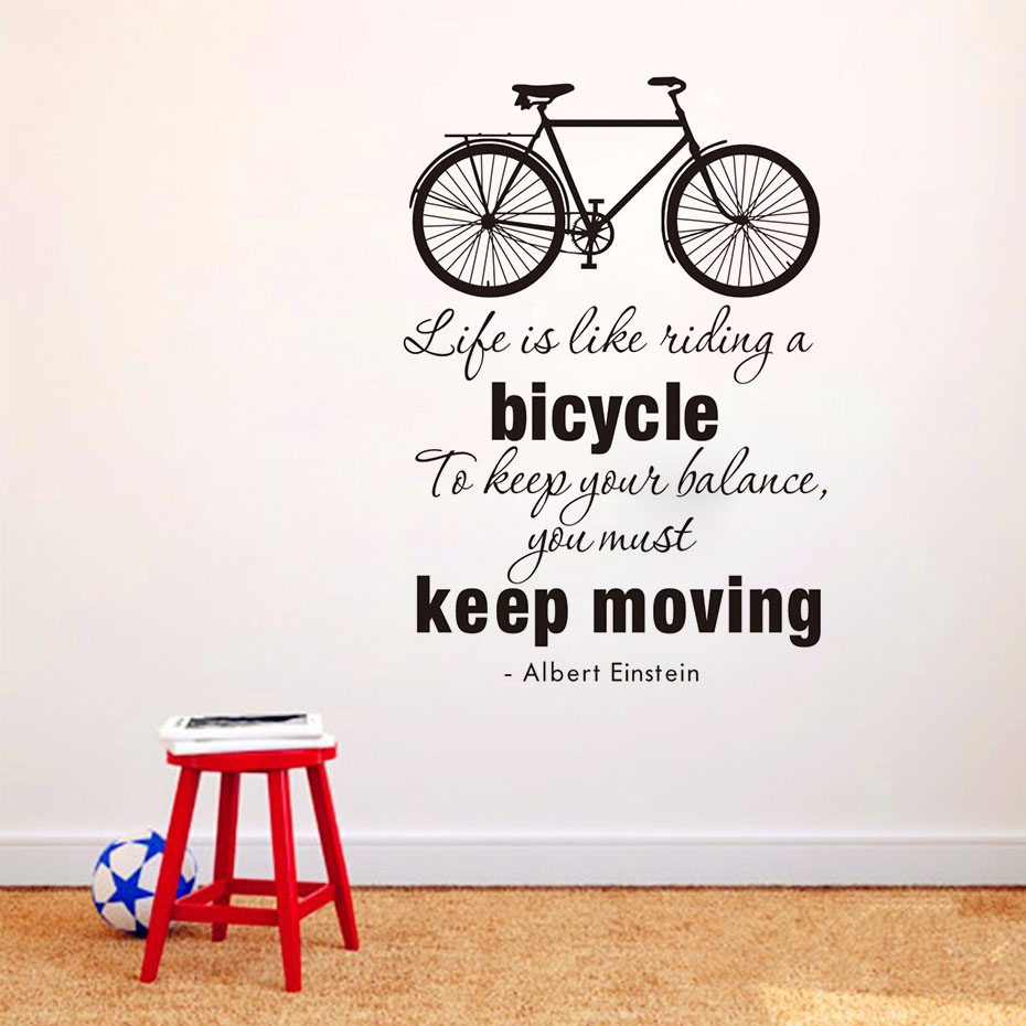 Export Portal Word Art For Walls Decor: Life Is Like Riding A Bicycle Quote Bike Wall Sticker DIY