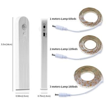 Wireless Motion Sensor LED Strip Lamp 1M 2M 3M USB Smart TV Under Bed Cabinet Closet Wardrobe Stairs Door Night Light
