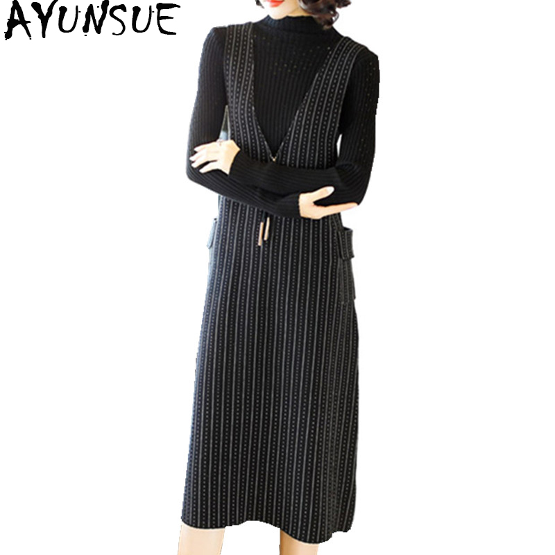 AYUNSUE 2018 New Fashion Autumn Winter Dress Female Wool Knitted Dress Sleeveless Strip Slim Long Dress Sweater 2 Set WYQ1018 2 pieces new women sweater dress 2018 fall spring autumn long sexy bodycon dresses elastic striped slim turtleneck knitted dress