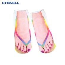 Funny Socks Women Hot Sale 3D Printed Sock Stylish Low Cut Ankle Short Lady 2019 New Fashion Sokken Chaussette Femme