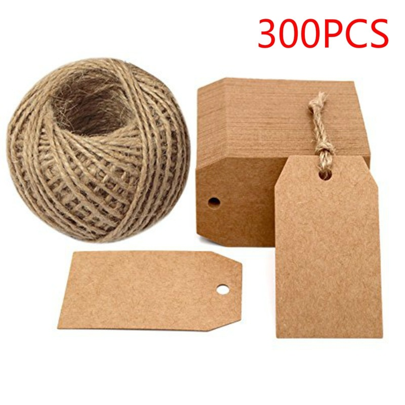 300Pcs Kraft Paper Gift Tags 2 x 1inch Craft Tag with String Blank Hang for Packaging Price Tags Wedding Party Decoration packaging and labeling