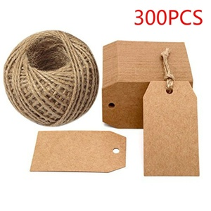 300Pcs Kraft Paper Gift Tags 2 x 1inch Craft Tag with String Blank Hang for Packaging Price Tags Wedding Party Decoration