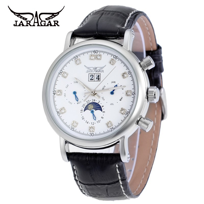Jargar Men's Automatic Watch Moon Phase Display Leather Band Mechanical Wristwatches Black Color Whit Gift Box
