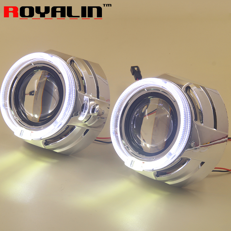 ROYALIN Car Metal Headlamps Lens Bi Xenon H1 Projector With 95mm White LED Angel Eyes for H4 H7 Motorbike Auto Lights Retrofit