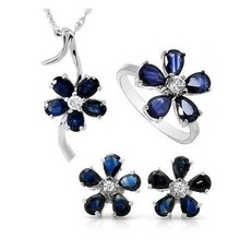 Natural blue sapphire stone wedding jewelry sets natural gemstone ring earrings necklace S925 silver Fashion elegant Flowers