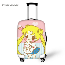 ELVISWORDS Sailor Moon Travel Luggage Cover Lovely Cartoon for Girls Boys Suitcase Protective High Elasticity Case