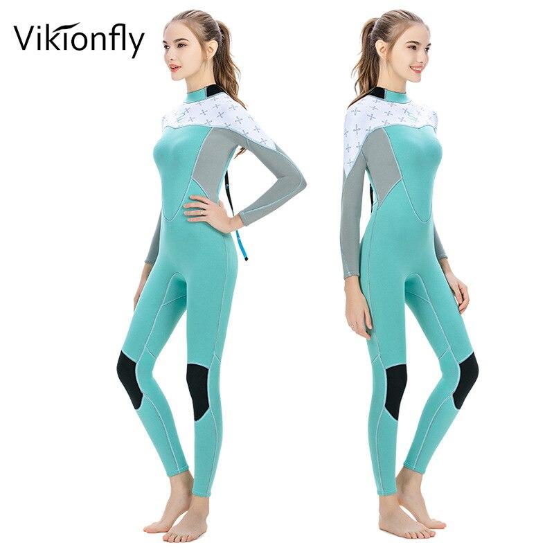 Vikionfly combinaison néoprène femme manches longues planche à voile combinaison de conduite sous-marine pêche sous-marine méduse natation surf costumes vêtements