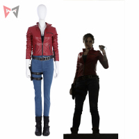 MMGG Halloween Resident Evil 2 Cosplay Claire Redfield cosplay costume leather coat and pants set high quality custom made size