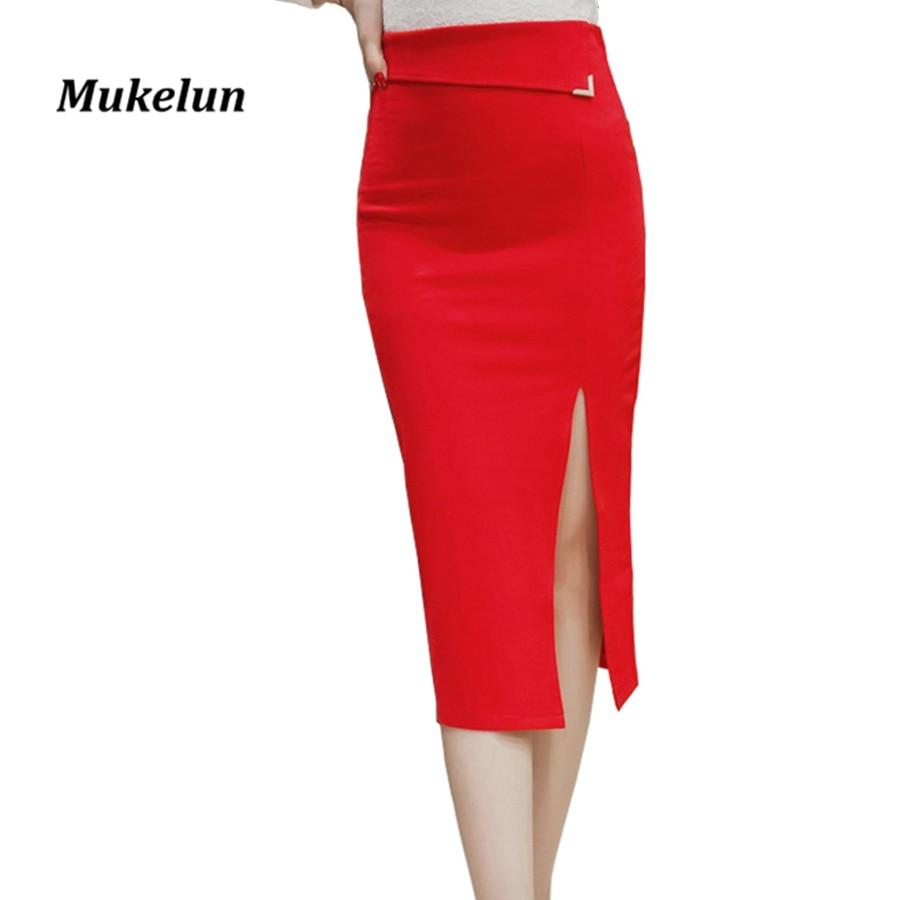 S-5XL Women Sexy Pencil Skirt Plus Size Fashion Mid Calf Long Skirt Casual Bodycon Elegant Open Split Stretch Work Skirts