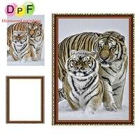 DPF Oprawione Diament Haft 5d Okrągłe pełne piękny tygrys Malowanie Diament diament Ściegu Rhinestone Wystrój domu malowanie