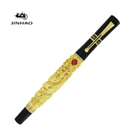 JINHAO Flying Dragon Noblest Golden Medium Nib Fountain Pen New комплект для татуировки oem 1 gig set golden dragon