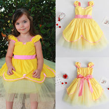 Princess Fancy Party Holiday Costumes Dress Baby Kids Yellow Color Beauty  Cosplay Girls Dresses 5639a624d373