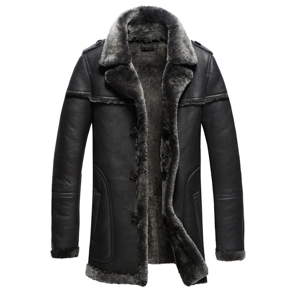 Men's The Most Thick Fur Coat Commercial Fashion Guaranteed Real Sheepskin Fur Genuine Leather Suede Male Clothing Jacket