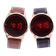 Бесплатная доставка Лидер продаж Модные светодиодный сенсорный пары женщины мужчины часы Cool светодиодный электронный сплав кожа наручные часы