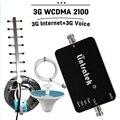 Venta caliente 3G W-CDMA 2100 mhz Ganancia 65dB Repetidor UMTS 3G Señal de Teléfono Celular Repetidor Amplificador Set + Antena Yagi Antena de Techo