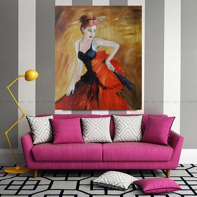Uberlegen Handgemalte Spanische Tänzerin Ölgemälde Auf Leinwand Moderne Ballerina  Tänzerin Malerei Wandbilder Dekoration Bilder