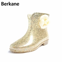 Spring And Summer Boots Female Korean Fashion Jelly Short Tube Martin Slip Female Student Boots Shoes