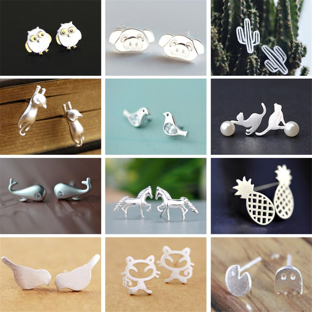 QIAMNI Trendy Owl Pig Cat Bird Horse Dolphin Pineapple Cactus Stud Earrings for Women Party Birthday Gift Pendientes Bijoux image