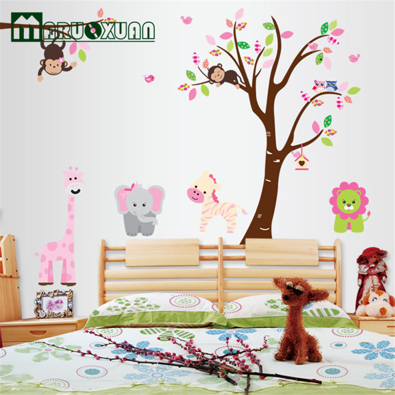 Cute Jungle Animals Tree Monkey  Wall Sticker for Kids Rooms Child DIY Stickers Wall Art Decals Home Decoration AY216AB  015
