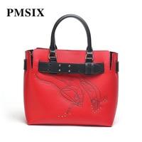 PMSIX Women Famous Brands Large Capacity Vintage Floral Printing Leather Handbags zipper long Straps Casual Top handle Bag