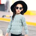Meninas do bebê Camisola Nova Outono Inverno Coreano Crianças Malha Sólida Mais Espessa do Agasalho Moda Casual O Pescoço Puff Luva Venda Quente