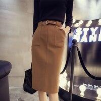 Office Lady Slim High Waist Woolen Pencil Skirts Female Knee Length Winter Autumn Grey Brown Midi