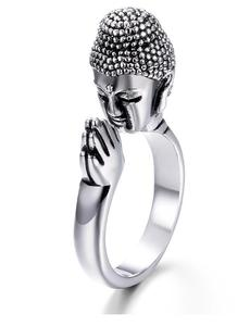 High Quality Alloy Metal Unisex Peace Buddha Sakyamuni Buddhism Head Ring For Peace Pray For Lucky Ring Adjustable Ring Men w(China)