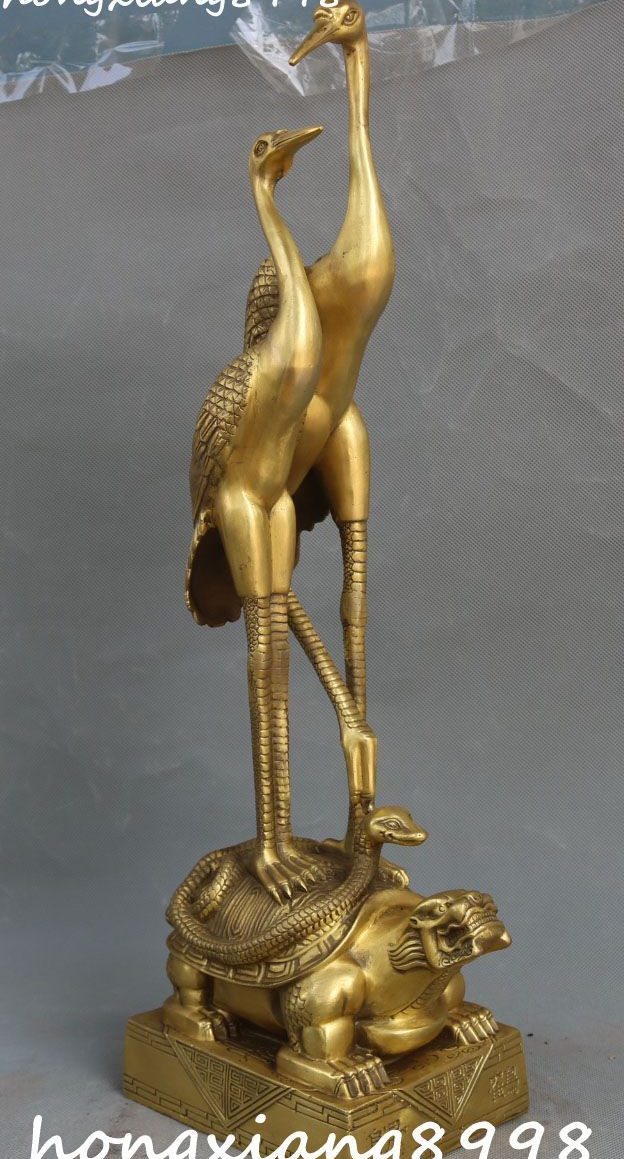 51 CM chine Bronze rouge-couronné grue Dragon tortue tortue bête Animal Statue - 6