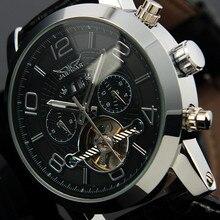 JARAGAR Tourbillon Montres Bracelet En Cuir Automatique Montre Mécanique Lumineux Mains Date Jour Affichage Mâle Montre-Bracelet Horloge Mannen