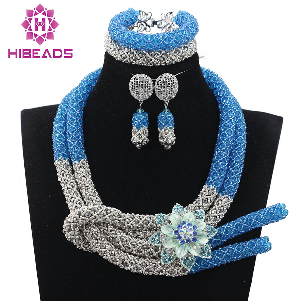 Unique Design Shiny Blue Costume For Women African Jewelry Sets Crystal Bridal Indian Necklace Jewelry Set Free Shipping QW761 perpetuum shiny 22 22 22