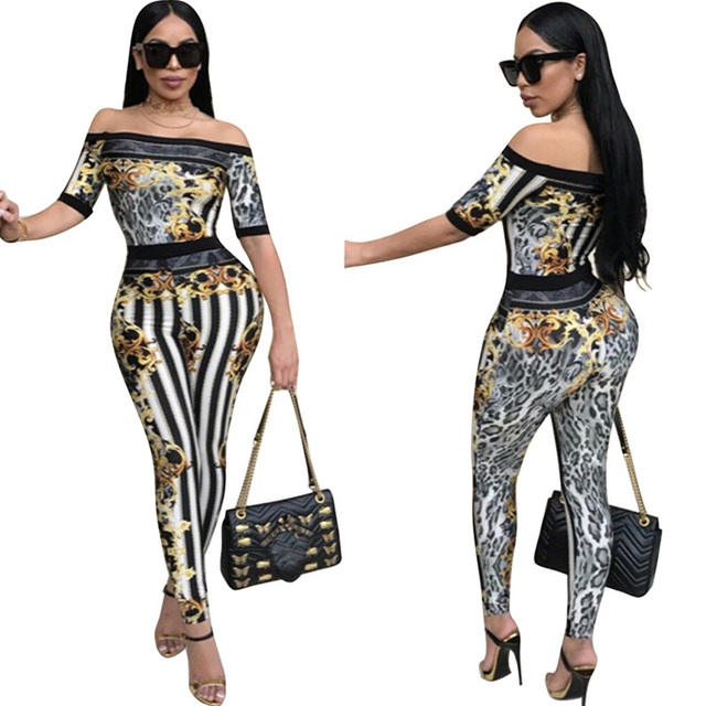 d26af813c26c Rompers Womens Jumpsuit 2017 Sexy Ladies Black White Striped Leopard Print  Slim Off Shoulder Elegant Bodycon