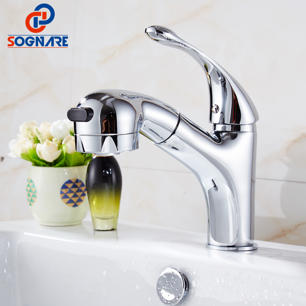 SOGNARE Bathroom Basin Faucet Pull Out Deck Mounted Chrome Mixer Tap Single Handle Cold and Hot Brass Vessel Sink Water Taps polished chrome deck mounted bathroom kitchen faucet tap single handle with brass soap dispenser
