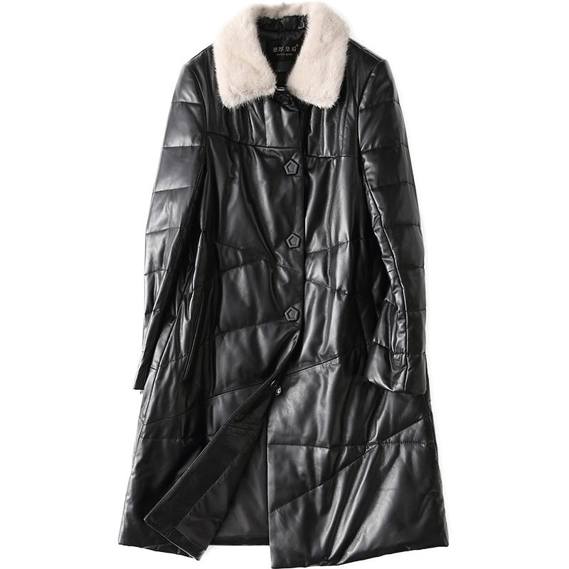 Femmes Femme De Mouton Vestes En Duvet Invierno Cuir Chaquetas Mujer Manteau Veste Peau Noir Mf237 D'hiver Canard Yolanfairy Geniune qWR4nSOwxI