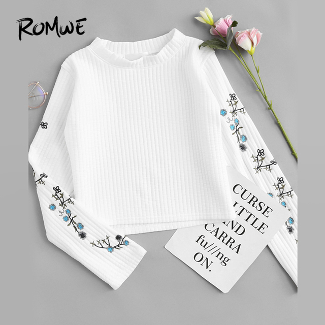 18974a14f ROMWE Floral Embroidered Ribbed White Tops Women Casual Autumn Long Sleeve  Crop Tee New Style Spring Round Neck T Shirt