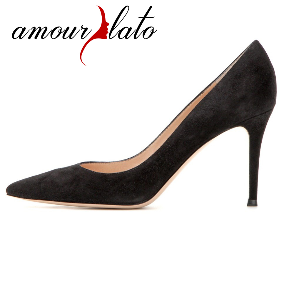 Amourplato Summer Style Women's Ladies Handmade Fashion Slip On 85mm Pointy Basic Office Party Prom High Heel Pumps Shoes