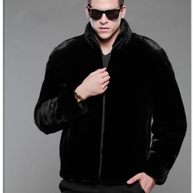 2017 Fashion Mens Faux Fur Coats Stand Collar Black Leather Jacket Men Faux Mink Overcoat Winter Outwear