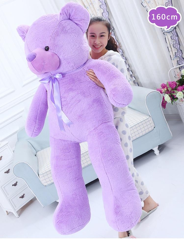 large lavender bear teddy bear plush toy soft doll hugging pillow Christmas gift w1323 stuffed fillings love you bear plush toy large 140cm white teddy bear pink scarf bear doll hugging pillow birthday gift b1015
