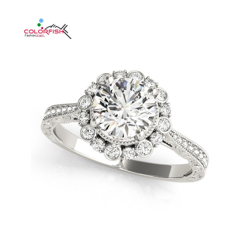 COLORFISH Real 925 Sterling Silver Halo Engagement Flower Ring for Women Brilliant Cut 1 CT Sona Jewelry Vintage Wedding Band