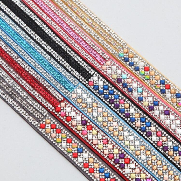 Meajoe Trendy Women Men Multilayer Rhinestone Slake Leather Bracelet Vintage Charm Crystal Long Bracelets Jewelry For Women Gift 8