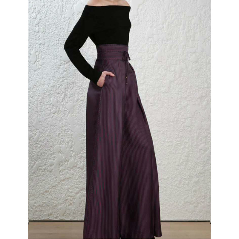 Women High Waist Silk and Chiffon Office Lady Wide Leg Stripe Loose Palazzo Pant With Side Pockets