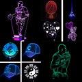 Basquete Visiual maravilha escudo USB 3D Led Night Light Kid Presente NBA Led Colorido RGB Toque Candeeiro de Mesa Frete Grátis