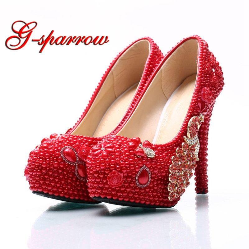 Handicraft Nightclub High Heels Women Pumps Red Pearl Bridal Wedding Party Shoes Rhinestone Phoenix 5cm Middle Heel Prom Shoes aiweiyi women high heels prom wedding shoes ladies gold silver glitter rhinestone bridal shoes stiletto high heel party pumps