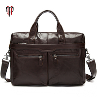 TIANHOO briefcase man leather bags genuine leather A4 folder package 14 inch laptop totes soft oil wax leather for men