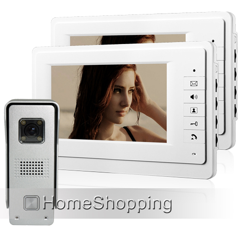 купить FREE SHIPPING BRAND NEW 7 inch Color Home Video Intercom Door phone System 2 White Monitors 1 Doorbell Camera IN STOCK WHOLESALE дешево