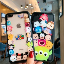 Cartoon Mickey Minnie Winnie Poohs Full Screen Protective Film+Tempered Glass Case For iPhone XS XR MAX X 6 6S 7 8 Plus