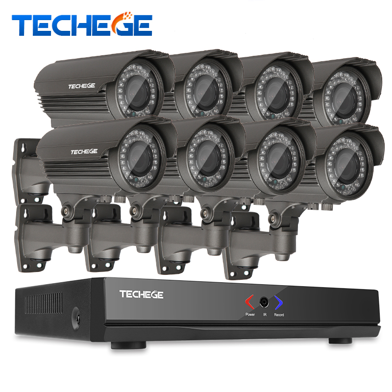 Full 8CH 1080P POE kit 48V POE NVR 8PCS  2.0mp PoE IP Camera 2.8-12MM zoom P2P Cloud cctv system video surveillance system techege h 265 security surveillance kits 8ch 4k 48v poe nvr 4mp 2 8 12mm zoom lens ip camera poe system p2p cloud cctv system
