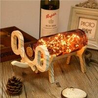 Novelty Gifts Night Light Glass Cover 60 LEDs Desk Lamp Wood Base Bedside DC 5V 3W