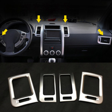 For Nissan X-Trail T31 2008 2009 2010 2011 2012 2013 ABS Matte Air Conditioner AC Vent Outlet Cover Car Styling Accessories 6pcs set car accessories matt abs front air vent frame cover trim for nissan xtrail x trail 2008 2009 2010 2011 2012 2013