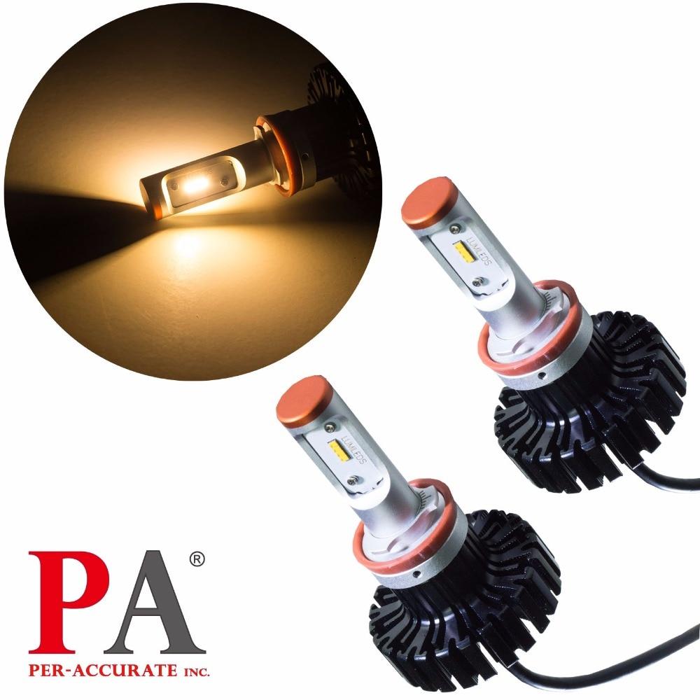 PA LED 1SET x H8/H9/H11/H16J 5000 Lumen Lumileds ZES 80W Warm White 3000K Automobile Headlight Fog light whitaker h halas j